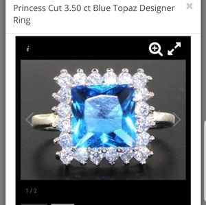 Jewelry - Sterling silver pricess cut ble topaz ring
